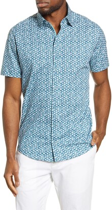Stone Rose Floral Short Sleeve Button-Up Shirt