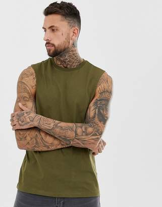 Asos Design DESIGN organic relaxed sleeveless t-shirt with crew neck and dropped armhole in khaki-Green