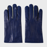 Paul Smith Men's Dark Blue Leather Concertina Gloves
