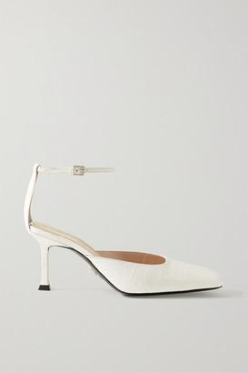 Cesare Paciotti Croc-effect Leather Pumps - White
