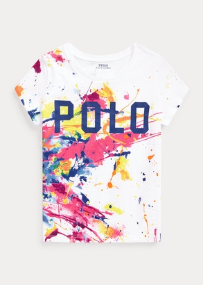 Ralph Lauren Paint-Splatter Logo Cotton Jersey Tee