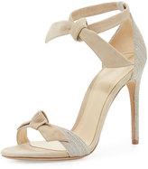 Alexandre Birman Clarita Knotted Leather & Linen Sandal, Natural/Balm