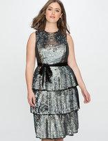 ELOQUII Plus Size Sequin Layered Tea Dress