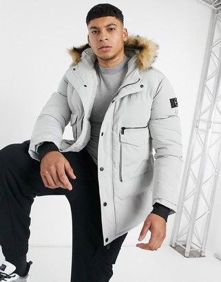 Mauvais parka coat with faux fur hood in light grey
