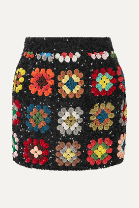 Ashish Sequined Georgette Mini Skirt - Black
