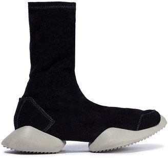 Rick Owens X Adidas Stretch-suede High-top Sneakers