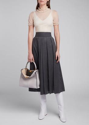 Fendi Lightweight Flannel Mesh Pleated Midi Skirt