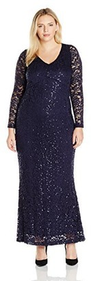 Marina Women's Size Long Sleeve Plus Sizewhite Lace Gown