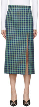 Balenciaga Blue Wool Check Skirt