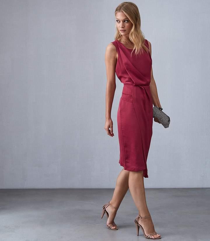 Reiss KARINA CROSS BACK COCKTAIL DRESS Raspberry