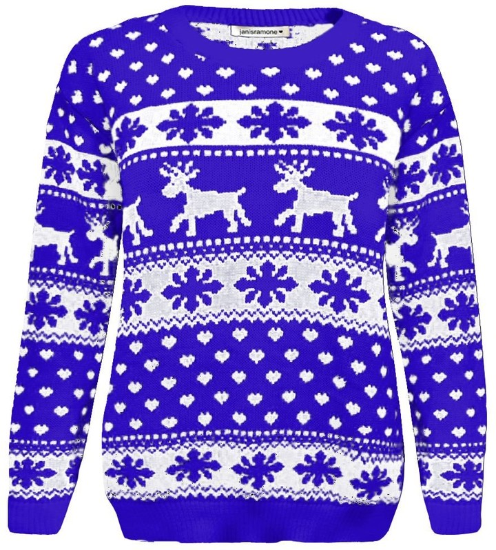 Girls Frenchie Reindeer Sequin Christmas Jumper