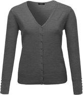 Plus4u Basic V-neck Solid Cardigan Plus Size Color Variations Charcoal Size 3XL