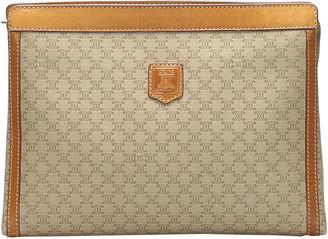 Celine Brown Coated Canvas Vintage Macadam Triomphe Portfolio Bag