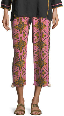 Batik-Print Straight-Leg Cropped Crepe de Chine Pants