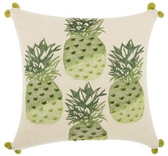 "Nourison Royal Palm Four Pineapples Decorative Throw Pillow, 18"" x 18"", Green"