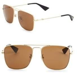 Gucci 55MM Square Aviator Sunglasses