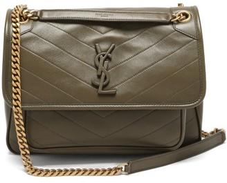 Saint Laurent Niki Medium plaque Leather Shoulder Bag - Khaki