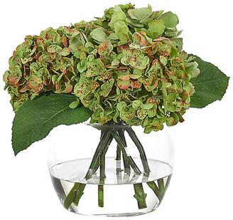 """13"""" Hydrangea in Bubble Vase - Faux - NDI - arrangement, green; vessel, clear"""