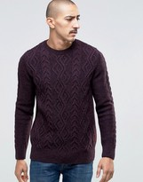 Barbour Jumper With Cable Knit In Red