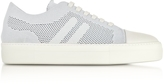 Neil Barrett Off White Perforated Fabric and Nappa Leather Skateboard Sneakers