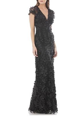 Carmen Marc Valvo 3D Floral Mermaid Gown