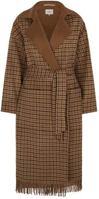 Nanushka Alamo Fringed Check Wrap Coat