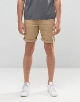 Asos Skinny Denim Shorts In Stone