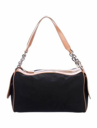 Tod's Leather-Trimmed Nylon Shoulder Bag Black