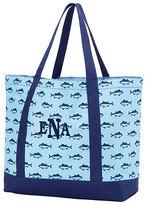 Princess Linens Navy Mongram Beach Tote Bag