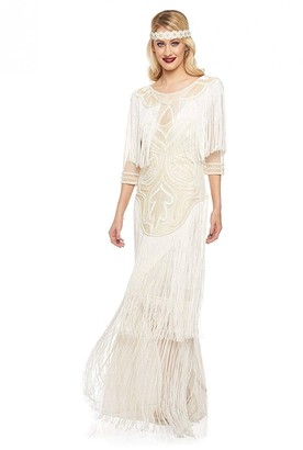 Gatsbylady London Glam Fringe Flapper Maxi Dress in Cream
