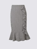 Marks and Spencer Gingham Ruffle Pencil Midi Skirt