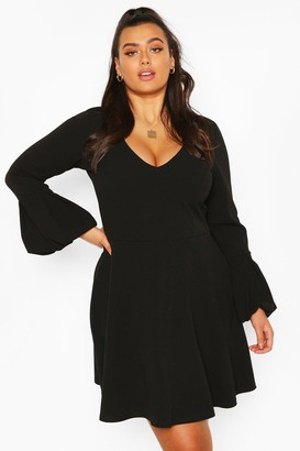 boohoo Plus Volume Sleeve Skater Dress