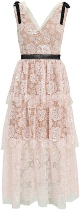 Self-Portrait Starlet Tiered Lace Midi Dress