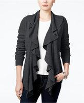 Karen Scott Petite Luxsoft Ruffled Open-Front Cardigan, Only at Macy's