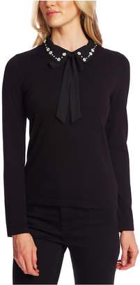 CeCe Collared Rhinestone-Embellished Sweater
