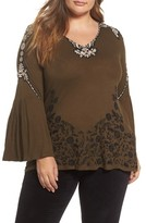 Lucky Brand Plus Size Women's Embroidered Bell Sleeve Top