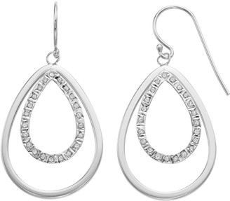 Mystique Diamond Platinum Over Silver Double Teardrop Earrings