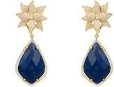 Lapis Latelita Lotus Flower Lazuli Teardrop Earring Gold