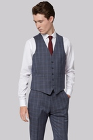 Moss Bros Skinny Fit Sky Grey Check Waistcoat