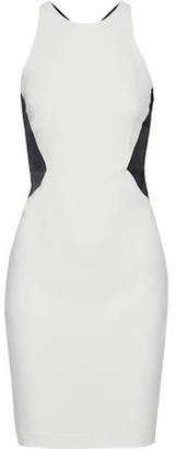 Halston Cutout Two-tone Satin-paneled Crepe Mini Dress
