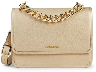 Calvin Klein Chain-Trim Leather Crossbody