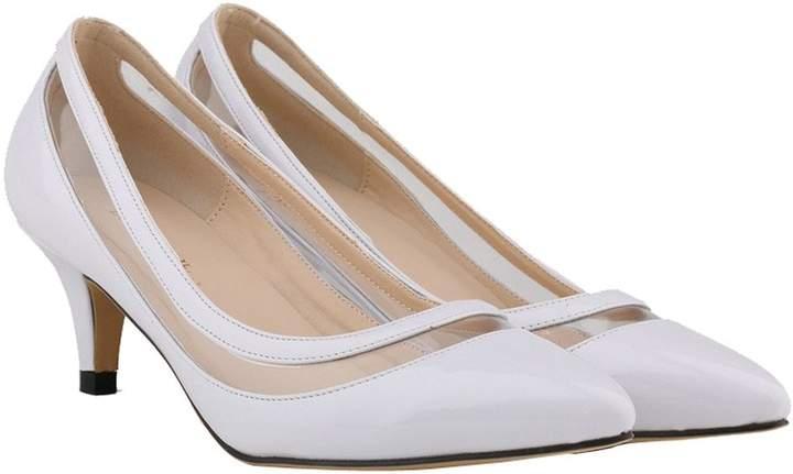 2cff0d8f738f0 CAMSSOO Women's Elegant Sexy Kitten Heels Slip On Shoes Pointed Toe Dress  Pumps Size 9 EU41