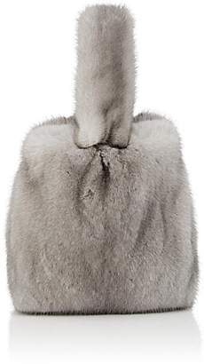 Barneys New York Women's Mink Fur Wristlet Bucket Bag - Silver