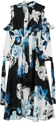 Off-White Cold-shoulder Floral-print Silk-moire Midi Dress
