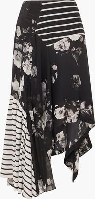 Preen by Thornton Bregazzi Veronika Paneled Printed Silk Midi Skirt