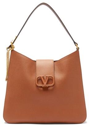 Valentino V-sling Large Grained-leather Shoulder Bag - Womens - Brown