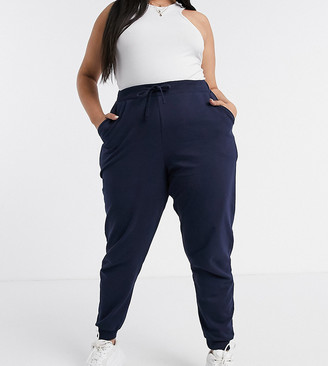 ASOS DESIGN Curve organic cotton basic trackies with tie in in navy