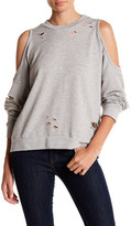 Ten Sixty Sherman Mock Neck Cold Shoulder Distressed Pullover