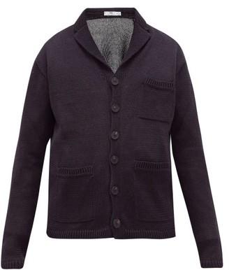Inis Meáin Wide-gauge Knitted-linen Cardigan - Mens - Black