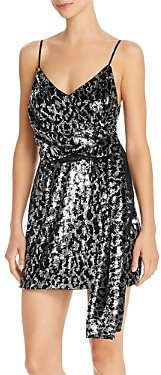 Saylor Leopard Sequin Faux Wrap Mini Dress